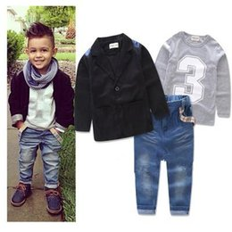 Wholesale Boys Jeans Jackets - Kids Boys Gentlemen Sets 2017 Spring Baby Boy Jacket+Shirt+Jeans 3pcs Suits Infant Boys Letter Print Outfits Children Boutique Clothes S784
