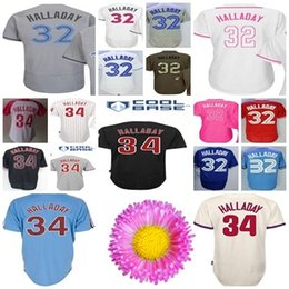Wholesale Cool Ice - Mens Womens Kids Roy Halladay Jersey Philadelphia #34 Toronto #32 Flex Cool Baseball Jerseys Cooperstown Mother Father Salute Ice Black
