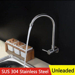 Wholesale Fitting Water Filter Tap - Free shipping Kitchen Cold Water tap Into the wall SUS 304 Stainless Steel Unleaded Faucet Filter for Kitchen Home Hotel Sink Water Tank