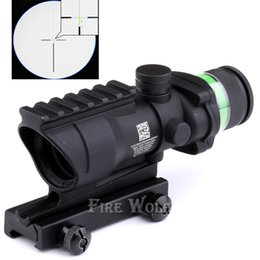 Wholesale Green Rails - 2017 Black & Beige color Tactical Trijicon acog style 4x32 rifle scope red green dot Red with 20mm rail Optical fiber fits for 20mm Rail