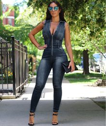 Wholesale Women Tight Collar - Cryslody Casual Women Sleeveless Bodycon Jumpsuit Zipper Front Strand Collar Tight Denim Rompers Fashion Dark Blue Jeans Overalls