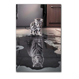 Wholesale home decoration images - Unframed 1Panel Small Cat or Big Tiger Mirror Image Wall Art Oil Painting On Canvas HD Print Art Picture for Home Decoration.(Wholesale)