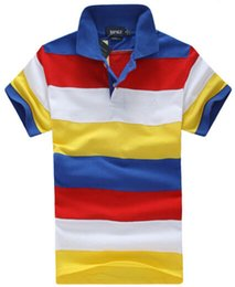 Wholesale Cheap American Shirts - Fashion Mens Striped polo T-Shirt American Design Cotton Short Sleeve Sport Polos Shirt Cheap Tee Shirts Colorful Boys leisure Clothing