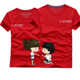 Wholesale Lover Clothes Couples - Wholesale-Valentine Lover couple Clothes Short Sleeve T-shirt Casual Summer T-Shirt Man and Woman Couple T-shirts Lovely Cartoon Tee Tops