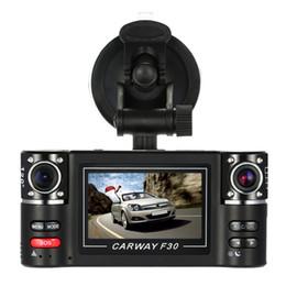 obiettivo nero doppio dell'automobile Sconti Dashcam Hd Dual Lens F30 2.7