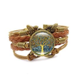 Braceletes couro vida árvore on-line-Quente! 5 pcs de luxo marca de jóias com árvore da vida padrão de couro cabochão de couro charme infinito pulseira pulseira para unisex