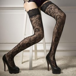 Wholesale Hosiery For Black Women - Wholesale- Women Sexy Fishnet Stockings Sheer Lace Tops Thigh High Stockings Hosiery Nets For Women Female Mesh Stockings Black Temptation