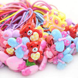 Wholesale Jelly Rubber Rings - High quality New hair ring fashion cartoon resin jelly color flower rubber band hair ornaments FQ084 mix order 100 pieces a lot