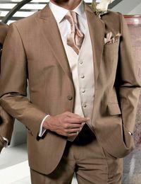 Wholesale Men Tan Wedding Suits - Wholesale- New Arrival Cheapest Tan Groom Tuxedos Men Wedding Suits Peaked Lapel Tuxedo Suits Groomsman Business Wears (Jacket+Pants+Vest)