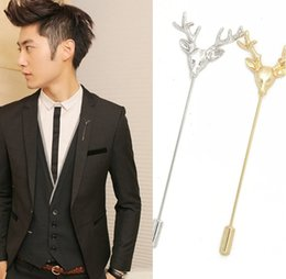 Wholesale 14k stick pin - Men Retro Deer Head Horn Elk Antler Stag Lapel Stick Pin Tie Hat Scarf Brooch for father boyfirend birthday gift