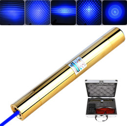 Wholesale Laser Blue Pointer - Gold Plated Laser Pointer Pen 10 Mile Most Powerful Blue Laser Pointer with Metal Box Charger glasses