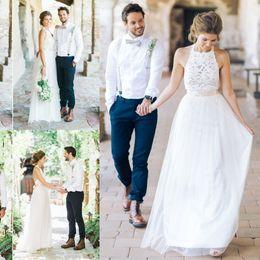 Wholesale Skirts Dresses Boho - Sexy New Bohemian Style Long White Chiffon Lace Beach Wedding Dresses Boho 2017 Backless Wedding Gowns robe de mariage vestidos de noiva
