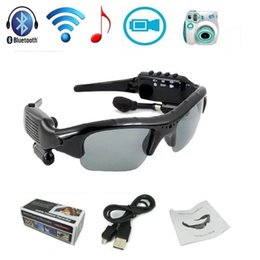 Wholesale Dvr Player Spy - Spy SunGlasses Hidden Camera Video Recorder With MP3 Player TF Card Slot Mini DV DVR CCTV Camera Bluetooth Headset Sunglasses camera