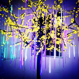Wholesale Shower Led Strip Light - 20CM 8Pcs Set Hollow Christmas Light Meteor Shower Rain LED String Lights LED Strip Light Tubes 4 Colors Christmas Ornaments