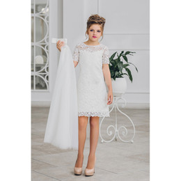 Wholesale dresse for girls - 2018 New Arrival Flower Girl Dresse A-Line Lace Knee Length Short Sleeve White Tulle Pageant Communion Kids Gown for Wedding