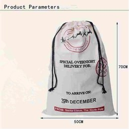 Wholesale Outdoor Reindeer Decorations - Christmas Gifts Sack Bags for child cotton Large Canvas Monogrammable Santa Claus Drawstring Bag Reindeers hristmas Decorations