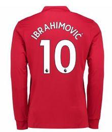Wholesale Top Shirt Long Sleeve - Thai Quality Customized 17-18 New season men Long sleeve 10 IBRAHIMOVIC Soccer Jerseys shirts,Discount mens 9 LUKAKU 6 POGBA top Soccer Wear
