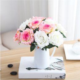 Wholesale Fake Flower Crafts - UBIZ Rose flower eternal real tough craft decorative flower wreath wedding docoration home party decor fake flower artificial silk