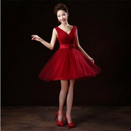 Wholesale Nice Bandage Dresses - nice short sweet 16 corset tulle v neck prom wine red ball gown 2017 spring bandage dress size under $50 for teenagers H2693