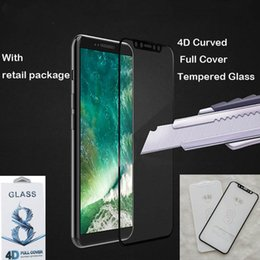 Wholesale 4d Glasses - Top quality For iPhone X Tempered Glass Front Screen Protector Film Full Cover 4D hard Curved Titanium Edge Film Full Coverage