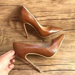 Wholesale Lambskin Leather Shoes - Free shipping real photo fashion women pumps brown lambskin leather point toe high heels thin heels shoes boots genuine leather 120mm lady