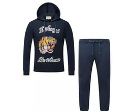 Wholesale Tiger Tracksuit - new autumn and winter black tracksuit young tiger cashmere sweater embroidery with leisure suit HY666