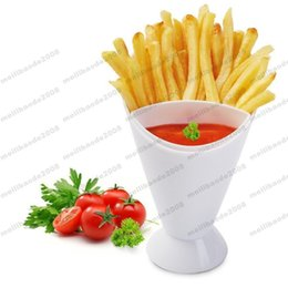 Wholesale Fries Cup - Home Kitchen Potato Tool Tableware French Fry Cone with Dipping Cup free shipping MYY