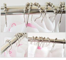 Wholesale Chrome Plated Stainless Steel - Calabash with ball Stainless steel Chrome Plated Shower Bath Bathroom Living romm Curtain Rings Clip Easy Glide Hooks fast shipping