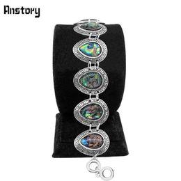 Wholesale Look Bracelet - Wholesale- Anstory Drop Longevity Shell Bracelet Vintage Look Tibet Alloy Antique Silver Plated Jewelry For Woman TB269