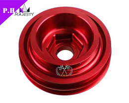 Wholesale B16 Civic - Free shippping Aluminum Underdrive Crankshaft Pulley For Honda 99-01 94-01 B18 B16 Civic color red stock