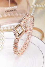 Wholesale Rhinestone Bangle Watch - Rhinestone Watch Jewelry bangle luxury Female Watches rhombic ultra thin diamond-shaped jw fashion wristwatch gift students tiempiece