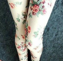Wholesale Leggings Korean Flower - Wholesale- Spring autumn The Korean women print flower Leggings wholesale Slim thin fashion leggings