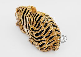Wholesale Hollow Clutch Bags - Wholesale-LaiSC Animal Tiger Luxury Crystal Evening Bag Leopard Cocktail Party Purse Handbags Free Shipping Women Clutch bags Purse SC030