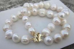 Wholesale Baroque Pearls Bracelets - baroque 10-12MM SOUTH SEA GENUINE WHITE PEARL BRACELET 14K GOLD CLASP 14K