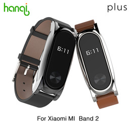 Wholesale Metal Wristbands - Wholesale- New Version Original Mijobs Leather Strap For Xiaomi Mi Band 2 Metal Leather Screwless Wristbands Replace Bracelet For MiBand 2