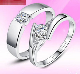 Wholesale 1ct Diamond Silver Ring - New High Qulity 925 Sterling Silver White gold Plated 1CT Swiss Diamond Rings For women 10pcs free shipping