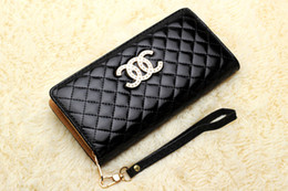 Wholesale Colored Zipper Bags - High-end European and American fashion brand lady candy colored clutch purse Quilted women wallets C C bright skin bag 5655