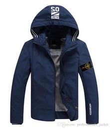 Wholesale New Bomber Jacket - fast shipping 2015 new stone autumn mens island jacket bomber jacket and coat stone blue jacket with hat Size M-4XL