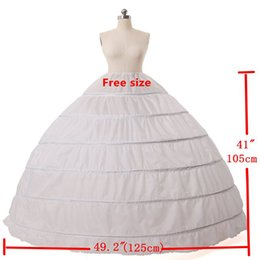 Wholesale Dress Hoop For Bridal Gowns - NEW 7 Colors High Quality White 6 Hoops Petticoat Crinoline Slip Underskirt For Wedding Dress Bridal Gown Petticoat LM3556