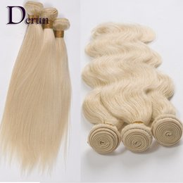 Wholesale 32 Inch Hair Extensions 613 - Hot Sale 7A Brazilian Malaysian Peruvian Indian Straight & Body wave 3 or 4pcs Lot Human Hair Extensions Blonde Color #613