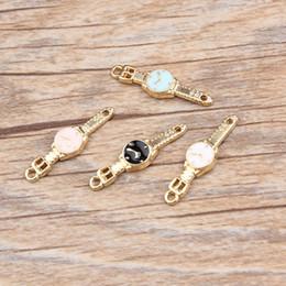 Wholesale Enamel Watch Pendant - Free Shipping 10pcs lot New Fashion Gold Tone Enamel Cute Girl Watch Alloy Charm Pendant For DIY Jewelry Making 6*24mm