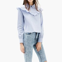 Wholesale Button Down Back Shirt - Stylish Ruffles Back Button Striped Blouse Long Sleeve Turn-down Collar Shirt European Style Women Striped Tops