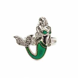 2017 moda sereia anel de peixe magia mudança de temperatura ajustável cor anel de humor mulheres jóias por atacado 100 pçs / lote de Fornecedores de mudança de humor