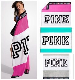 Wholesale Hands Towels - VS Pink Blanket Towel 130*150cm Striped Pink Letter Washcloth Swimwear Blanket Beach Towels 3 Colors OOA2365