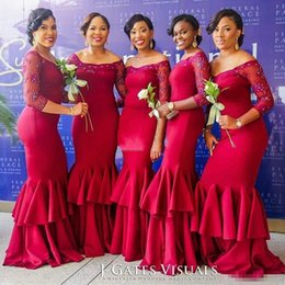 Wholesale African Red Coral Beads - 2017 New South African Style Burgundy Bridesmaid Dresses Off Shoulders Lace 3 4 Sleeves Mermaid Maid of the Honor Dresses with Tiers Skirt