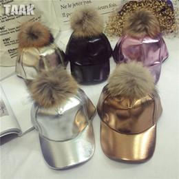 Wholesale Child Snapbacks - 2016 Cap With Pompom children Pu Leather Baseball Cap Bone Snapback For Kids Real Fur Pom Winter Caps