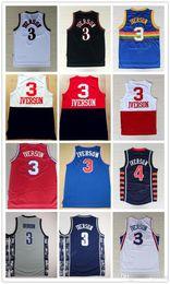 Wholesale Dream School - Throwback I.V #3 Basketball Jersey Mesh 76ers 2017 Rainbow 3 Allen Iverson Jersey High School Georgetown Hoyas USA Dream Team jerseys