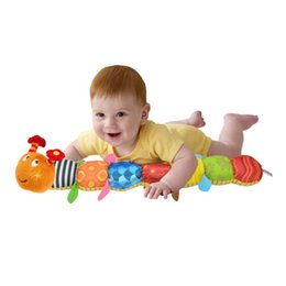 Wholesale Caterpillar Music Toys - Wholesale- 2017 Multifunctional Educational Children Toys Baby Rattles of Music Hand Puppets Caterpillar Animals For Kids MU881196