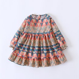 Wholesale Baby Fall Dresses - Baby Girls Dresses Spring Autumn Floral Full sleeve Dress Children Clothes Party Princess Dress Fall Kids clothing 2-7Y