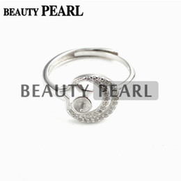 Wholesale Pearl Mounting Jewelry - Bulk of 3 Pieces Zircon Star and Moon Pearl Ring Settings 925 Sterling Silver Semi Mount DIY Jewelry Making